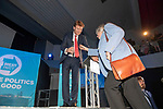 Brexit Party EU elections campaign launch at  The Neon in Newport, South Wales. Ann Widdecombe of the Brexit Party is helped onto the stage by Brexit Party Chairman Richard Tice.