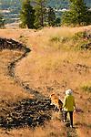 Woman Walking on Catherine Creek Trail, Columbia River Gorge, Washington