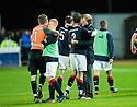 FALKIRK MANAGER STEVEN PRESSLEY CELEBRATES WITH HIS PLAYERS AT THE END OF THE GAME