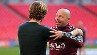 Brentford's Assistant Head Coach, Brian Riemer celebrates with Manager, Thomas Frank after the match during Brentford vs Swansea City, Sky Bet EFL Championship Play-Off Final Football at Wembley Stadium on 29th May 2021