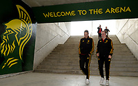 20180228 - LARNACA , CYPRUS :  Belgian Jassina Blom and Davinia Vanmechelen (r) pictured during a women's soccer game between Spain and the Belgian Red Flames , on friday 2 March 2018 at the AEK Arena in Larnaca , Cyprus . This is the second  game in group B for  Belgium during the Cyprus Womens Cup , a prestigious women soccer tournament as a preparation on the World Cup 2019 qualification duels. PHOTO SPORTPIX.BE | DAVID CATRY