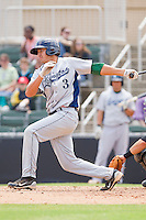 Jiovanni Mier #3 of the Lexington Legends follows through on his swing against the Kannapolis Intimidators at Fieldcrest Cannon Stadium on May 11, 2011 in Kannapolis, North Carolina.   Photo by Brian Westerholt / Four Seam Images