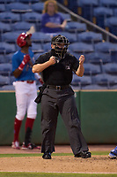 Umpire Chandler Durham strike three call during a game between the Dunedin Blue Jays and Clearwater Threshers on May 18, 2021 at BayCare Ballpark in Clearwater, Florida.  (Mike Janes/Four Seam Images)