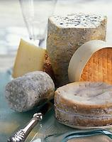 Gastronomie générale / Fromage: Plateau de fromages AOC : Mont d'Or, Livarot, Fourme d'Ambert, Chêvre de Loire, Ossau-Iraaty
