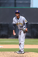 Burlington Bees pitcher Robinson Pina (28) on the mound during a Midwest League game against the Wisconsin Timber Rattlers on April 28, 2019 at Fox Cities Stadium in Appleton, Wisconsin. Wisconsin defeated Burlington 5-4. (Brad Krause/Four Seam Images)