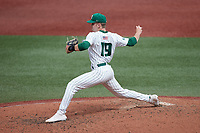 Charlotte 49ers starting pitcher Bryce McGowan (19) in action against the Old Dominion Monarchs at Hayes Stadium on April 23, 2021 in Charlotte, North Carolina. (Brian Westerholt/Four Seam Images)