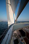 sailing close hauled on a beneteau 49 sailboat blue skys charleston south carolina sails yacht boat