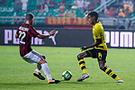 Borussia Dortmund Forward Alexander Isak (R) fights for the ball with AC Milan Midfielder Mateo Musacchio (L) during the International Champions Cup 2017 match between AC Milan vs Borussia Dortmund at University Town Sports Centre Stadium on July 18, 2017 in Guangzhou, China. Photo by Marcio Rodrigo Machado / Power Sport Images