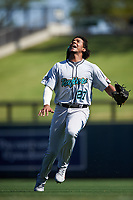 Salt River Rafters right fielder Jerar Encarnacion (27), of the Miami Marlins organization, pursues a pop fly during the Arizona Fall League Championship Game against the Surprise Saguaros on October 26, 2019 at Salt River Fields at Talking Stick in Scottsdale, Arizona. The Rafters defeated the Saguaros 5-1. (Zachary Lucy/Four Seam Images)