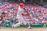 30 August 2015: Washington Nationals shortstop Ian Desmond connects against the Miami Marlins at Nationals Park in Washington, DC. The Nationals rallied to defeat the Marlins 7-4 in the third game of their 3-game weekend series. Mandatory Credit: Ed Wolfstein Photo *** RAW (NEF) Image File Available ***
