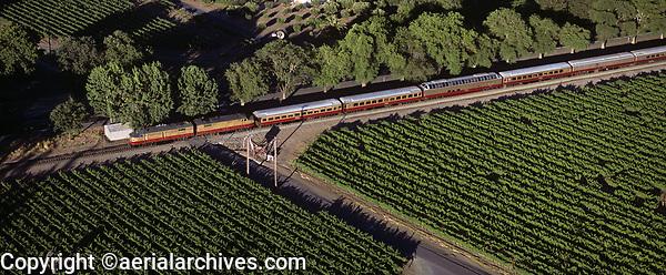 aerial photograph of the Napa Valley Wine Train, Napa Valley, California