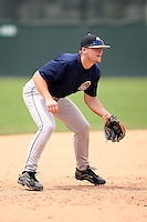 June 22nd 2008:  Third baseman Jeremie Tice of the Mahoning Valley Scrappers, Class-A affiliate of the Cleveland Indians, during a game at Dwyer Stadium in Batavia, NY.  Photo by:  Mike Janes/Four Seam Images