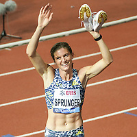26th August 2021; Lausanne, Switzerland;  Lea Sprunger of Switzerland after womens 400m Hurdles during Diamond League athletics meeting  at La Pontaise Olympic Stadium in Lausanne, Switzerland.