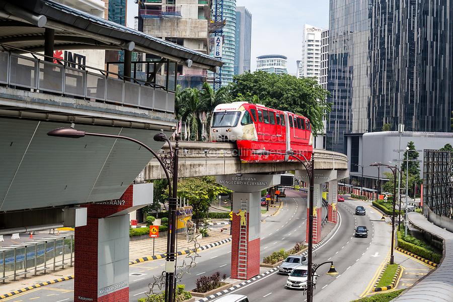 KL Monorail Serving Central Kuala Lumpur, Malaysia.