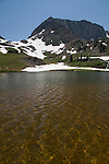 Static Peak, Michigan Lakes, ripples, water, summer, July, Routt National Forest, Colorado State Forest, Rocky Mountains, Colorado, USA