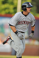 Hickory Crawdads Jake Skole #7 runs to first during a  game against the Asheville Tourists at McCormick Field in Asheville,  North Carolina;  June 13, 2011.  The Crawdads won the game 10-7.  Photo By Tony Farlow/Four Seam Images
