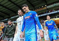 Sam Jones of Grimsby Town arriving onto the pitch before  the Sky Bet League 2 match between Port Vale and Grimsby Town at Vale Park, Burslem, England on 7 October 2017. Photo by Leila Coker.