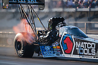Sep 26, 2020; Gainesville, Florida, USA; NHRA top fuel driver Antron Brown during qualifying for the Gatornationals at Gainesville Raceway. Mandatory Credit: Mark J. Rebilas-USA TODAY Sports