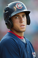 Oklahoma City RedHawks outfielder George Springer (8) in action against the Round Rock Express during the Pacific Coast League baseball game on August 25, 2013 at the Dell Diamond in Round Rock, Texas. Round Rock defeated Oklahoma City 9-2. (Andrew Woolley/Four Seam Images)