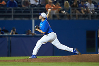 Alex Faedo (21) of the Florida Gators delivers a pitch to the plate against the Wake Forest Demon Deacons in Game Three of the Gainesville Super Regional of the 2017 College World Series at Alfred McKethan Stadium at Perry Field on June 12, 2017 in Gainesville, Florida. The Gators defeated the Demon Deacons 3-0 to advance to the College World Series in Omaha, Nebraska. (Brian Westerholt/Four Seam Images)