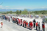 Local school children watch as the peloton passes by during Stage 5 of the 2015 Presidential Tour of Turkey running 159.9km from Mugla to Pamukkale. 30th April 2015.<br /> Photo: Tour of Turkey/Mario Stiehl/www.newsfile.ie