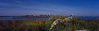 Ancient stonewall on Smuttynose Island, Isles of Shoals, Maine. Star Island in the background. Photograph by Peter E. Randall. panorama