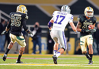 Baylor inside receiver LEVI NORWOOD (42) catches a pass during during NCAA Football game at Floyd Casey Stadium in Waco, Texas. Baylor defeats number one Kansas State 52-24