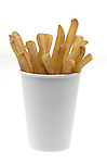 cup of french fries on shadowless white background