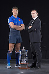 Philippe Saint-Andre the French Rugby Coach with Thierry Dusautoir (France) at the official launch of the RBS Six Nations rugby tournament at the Hurlingham Club in London..