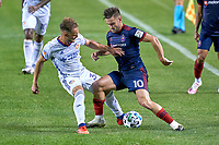 CHICAGO, UNITED STATES - AUGUST 25: Alvaro Medran #10 of Chicago Fire battles with Caleb Stanko #33 of FC Cincinnati during a game between FC Cincinnati and Chicago Fire at Soldier Field on August 25, 2020 in Chicago, Illinois.