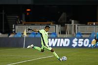 SAN JOSE, CA - SEPTEMBER 5: San Jose Earthquakes goalkeeper Daniel Vega #17 plays the ball during a game between Colorado Rapids and San Jose Earthquakes at Earthquakes Stadium on September 5, 2020 in San Jose, California.