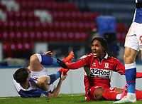 3rd November 2020; Ewood Park, Blackburn, Lancashire, England; English Football League Championship Football, Blackburn Rovers versus Middlesbrough; Djed Spence of Middlesbrough reacts after he collides with Joseph Rankin-Costello of Blackburn Rovers