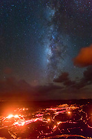 Starry Kilauea: The Milky Way shines over glowing lava rivers in Pulama Pali (of Holei Pali), Hawai'i Volcanoes National Park, Puna, Hawai'i Island, September 2017.