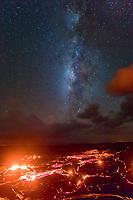 Starry Kilauea: The Milky Way shines over glowing lava rivers in Pulama Pali (of Holei Pali), Hawai'i Volcanoes National Park, Puna, Hawai'i Island, September 2017.