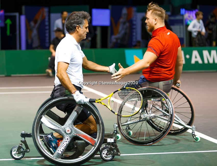 Rotterdam, The Netherlands, 9 Februari 2020, ABNAMRO World Tennis Tournament, Ahoy, Wheelchair: Stephane Houdet (FRA) and Nicolas Peifer (FRA).<br /> Photo: www.tennisimages.com