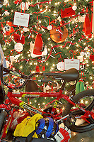 Christmas tree decorated with gifts. Providence Festival of Trees. Portland. Oregon