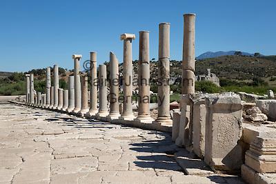 Turkey, Province Antalya, Patara near Kalkan: Ruined colonnaded Main Street, Patara | Tuerkei, Provinz Antalya, Patara bei Kalkan: die teilweise restaurierte Hauptstrasse