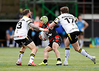 28th March 2021; Rosslyn Park, London, England; Betfred Challenge Cup, Rugby League, London Broncos versus York City Knights; Oilver Leyland of London Broncos is tackled by Danny Kirmond and Adam Cuthbertson of York City Knights