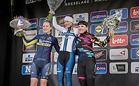 Dwars Door Vlaanderen 2017 Women's podium:<br /> 1/ Lotta Lepistö (FIN/Cervélo-Bigla)<br /> 2/ Gracie Elvin (AUS/Orica-Scott)<br /> 3/ Lisa Brennauer (DEU/Canyon-SRAM)