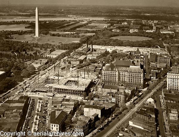 historical aerial photograph the Washington Monument and vicinity including construction, Washington, DC, 1929