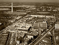 historical aerial photograph the Washington Monument and vicinity including construction, Washington, DC, 1929