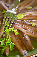 Domaine de Nidoleres. Roussillon. Marinated anchovies with parsley. France. Europe.