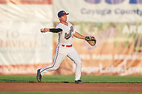 Auburn Doubledays second baseman Kyle Marinconz (4) throws to first base during a game against the Hudson Valley Renegades on September 5, 2018 at Falcon Park in Auburn, New York.  Hudson Valley defeated Auburn 11-5.  (Mike Janes/Four Seam Images)
