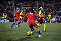 COLUMBUS, OH - NOVEMBER 07: Tobin Heath #17 of the United States turns and moves with the ball during a game between Sweden and USWNT at MAPFRE Stadium on November 07, 2019 in Columbus, Ohio.