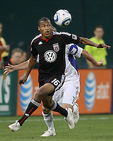 Jordan Graye #16 of D.C.United moves away from Chance Myers #7 of the Kansas City Wizards during an MLS match at RFK Stadium on May 5 2010, in Washington DC. United won 2-1