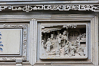 Suzhou, Jiangsu, China.  Stone Carvings Above Doorway Entrance, Ming Dynasty (14th-17th Century), House and Garden of the Master of the Nets.