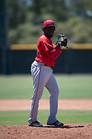 Los Angeles Angels relief pitcher Hector Yan (68) prepares to deliver a pitch during an Extended Spring Training game against the Giants Black at the San Francisco Giants Training Complex on May 25, 2018 in Scottsdale, Arizona. (Zachary Lucy/Four Seam Images)