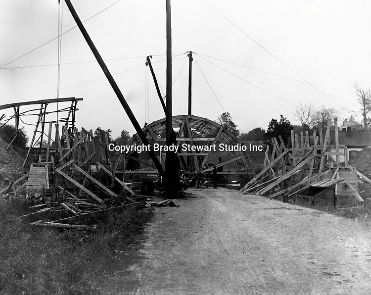 Hopedale OH:  Construction of the concrete arch for the Spellacy Tunnel.  The Pittsburgh, Toledo, and Western Railroad Company, owned by the famous George J. Gould,  hired Brady Stewart to document the track and tunnel construction between Hopedale Ohio, and downtown Pittsburgh.