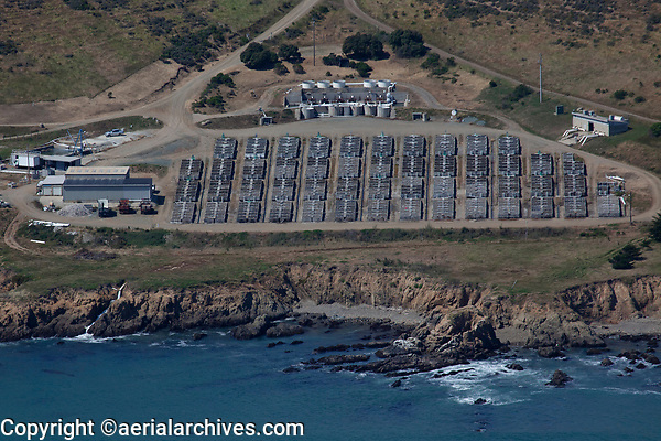 aerial photograph of the Abalone Farm, Cayucos, San Luis Obispo County, California, which produces 50% of the abalone sold in markets and restaurants in the US
