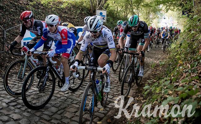 Julian Alaphilippe (FRA/Deceuninck-QuickStep) up the infamous Koppenberg<br /> <br /> 104th Ronde van Vlaanderen 2020 (1.UWT)<br /> 1 day race from Antwerpen to Oudenaarde (BEL/243km) <br /> <br /> ©kramon